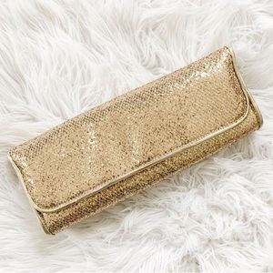F21 Gold metallic glitter clutch handbag